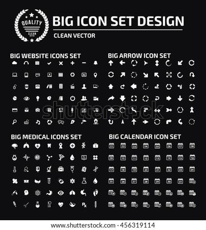 Big icon set,web icon,arrow icon,medical icon,calendar icon,vector