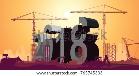 2018 big letters under construction and city scape