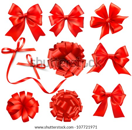 Big set of red gift bows with ribbons Vector - stock vector