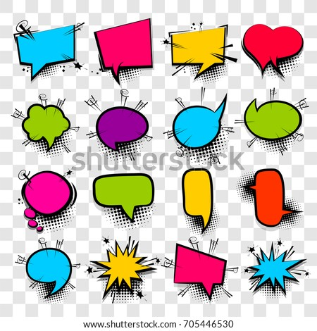 16 Big set picture blank template pop art style comic text speech bubble halftone dot background. Comics book dialog empty cloud, space cartoon box pop-art. Creative idea conversation sketch explosion
