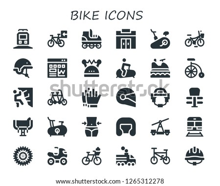 bike icon set. 30 filled bike icons. Simple modern icons about  - Train, Bicycle, Roller skate, Gym, Stationary bike, Helmet, Traffic, Jet ski, Bike, Climbing, Tandem, Football gloves