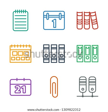 9 binder icons. Trendy binder icons white background. Included outline icons such as paper clip, calendar, notebook. binder icon for web and mobile.