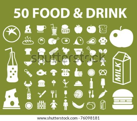 50 bio food & drink icons, signs, vector illustrations