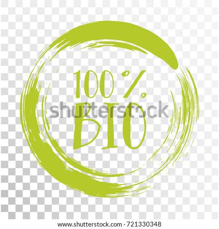 100% bio label vector, painted round emblem icon for products packaging. Bio sign with text 100 percent, tag circle stamp, logo shape label graphic design.