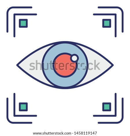 Biometric access, biometric eye identification Vector Icon which can easily modify or edit