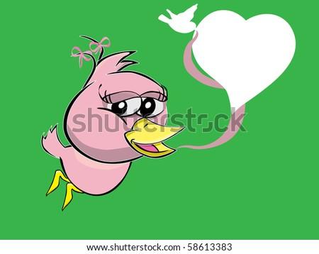 bird girl with heart style speech bubble, vector