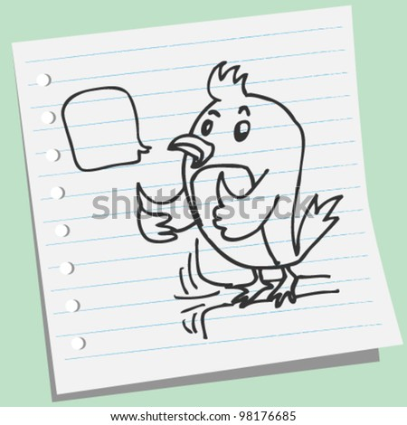 bird showing thumb doodle illustration
