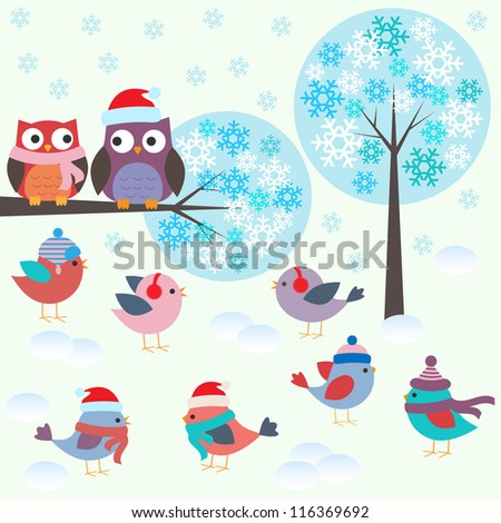 birds and owls in winter