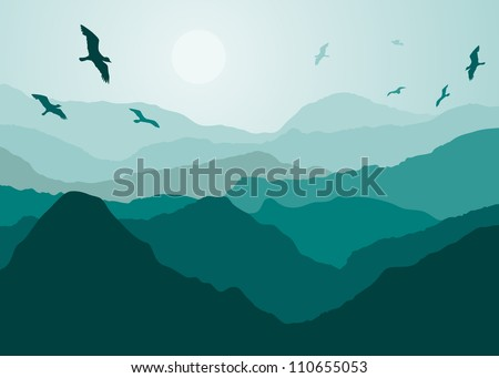 birds over the mountain