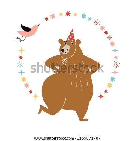 birthday card design, greeting card, funny cute dancing bear