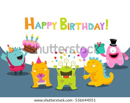 Birthday Card With Cute Monsters Characters