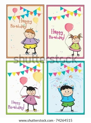 birthday cards for girls. stock vector : 4 irthday