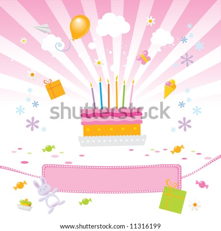 birthday pictures for girls. stock vector : birthday party for girls vector illustration with