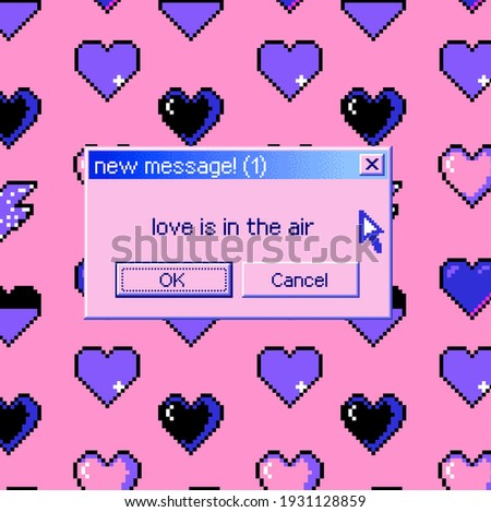 8-bit art message with pixel hearts. Vaporwave trendy retro user interface like in old operating systems.