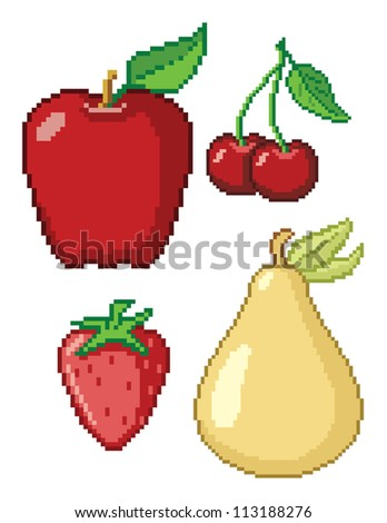 8-Bit Fruit Icons. These are four vector graphics of fruit (Apple, Cherries, Pear, and Strawberry) in a retro 8-bit video game style. This is a .eps 10 file, and no transparencies were use.