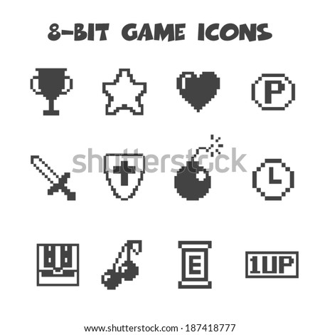 8 bit game icons  mono vector