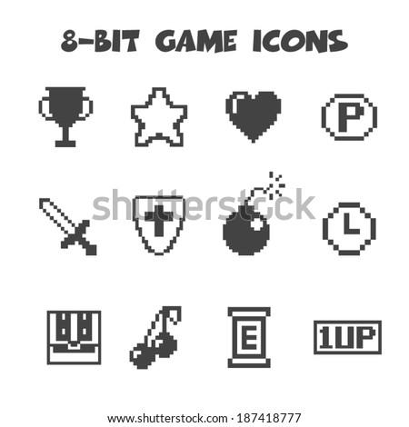 8 bit game icons  mono vector