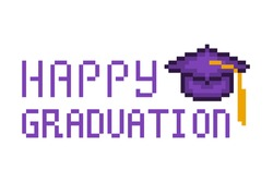8 bit Happy graduation print. Pixel art square academic cap icon isolated on white background. Old school vintage retro 80s, 90s 2d computer, video game graphics. Congratulation for graduate.