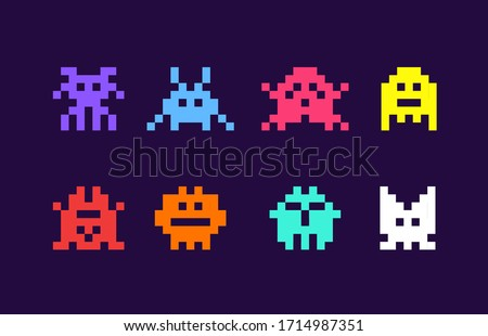 8 bit pixel arcade game alien invader. Superhero pixel space monster geek game