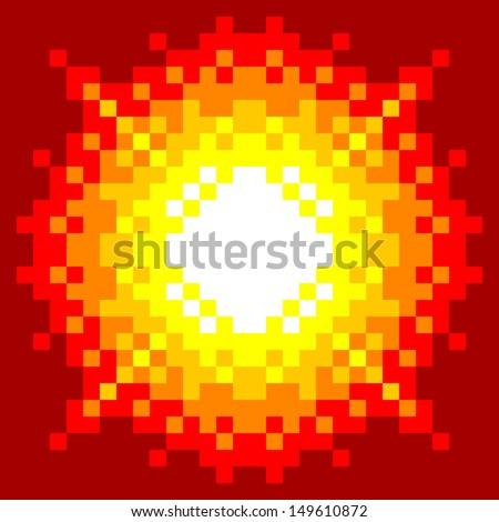 8 bit pixel art explosion on a