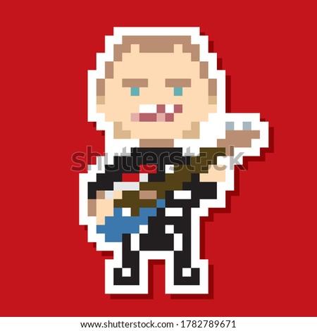 8 bit pixel art rock star band