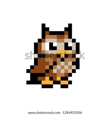 8 bit pixel brown owl vector
