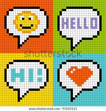 8-bit Pixel Social Networking Speech Bubbles: Smiley, Hello, Hi, Love