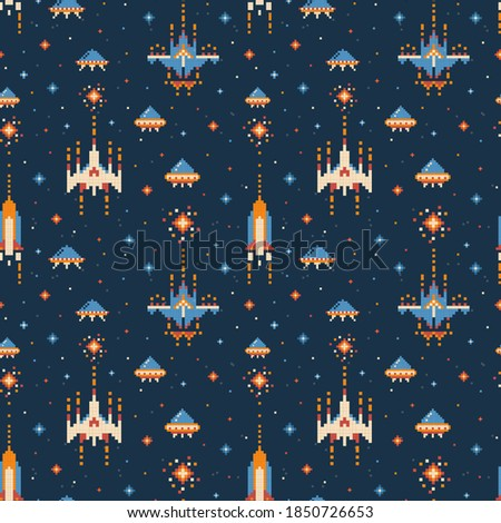 8-bit vintage video game pattern. Nostalgic space shutter seamless background with UFO and spaceships in outer-space. Retro arcade game background design from 80's and 90's for fabric and prints. Stockfoto ©