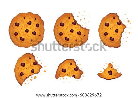 bitten  chip cookie vector