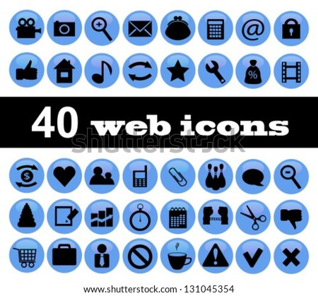 40 black-and-blue web icons on a white background