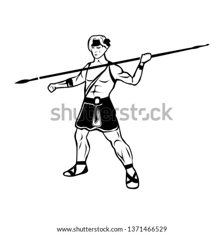 Black and white illustration with portrait of a warrior male warrior