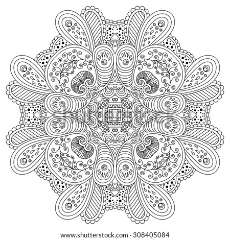 Black and white mandala.Vector illustration