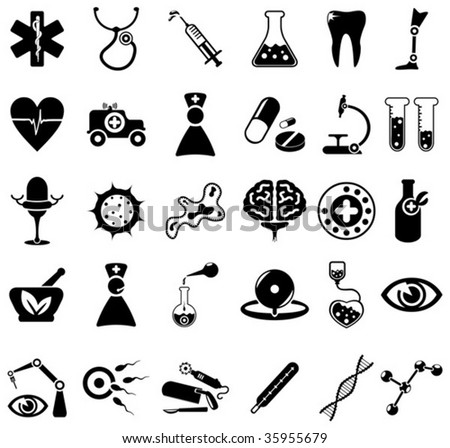 30 black and white medical icons