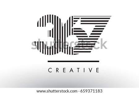 367 black and white number logo