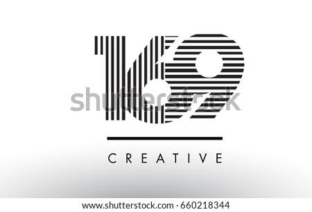 169 black and white number logo