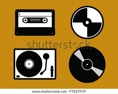 4 Black and White Old Music Icons. Cassette Tape, CD, Turntable and Vinyl Record.