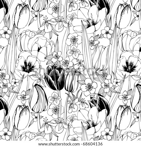 black and white seamless pattern with tulips