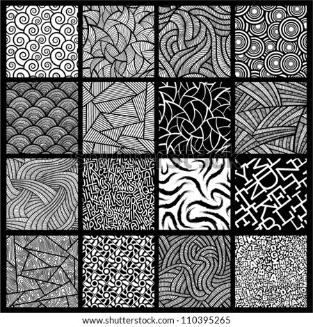 16 black and white seamless vector patterns.