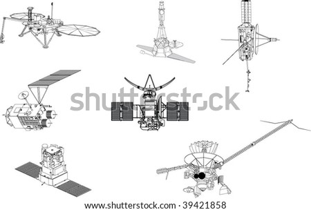 7 black and white vectorial space probes