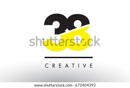 38 black and yellow number logo