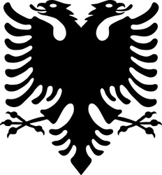 Black double-headed eagle. The national symbol of the country. Republic of Albania. Vector illustration.