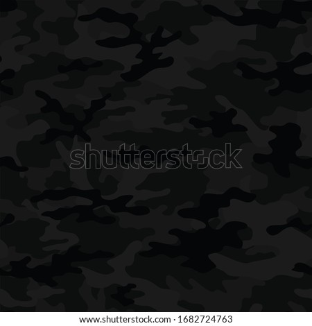 black-gray seamless camouflage pattern for textiles. Army background. Vector