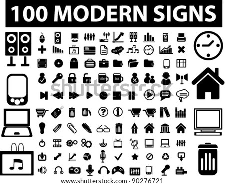 100 black icons set, signs, vector illustration