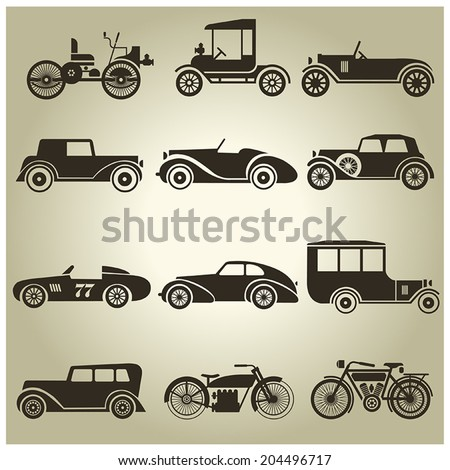 12 black icons vector retro transport on a beige background