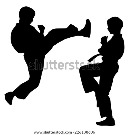 black silhouettes of karate
