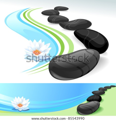 Black Stones and Lotus Flower- Zen Well-being