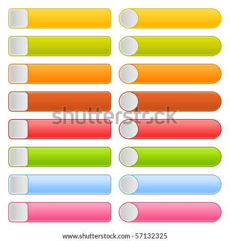 16 blank button web 2.0 navigation panel. Colorful rounded rectangle shapes on white background