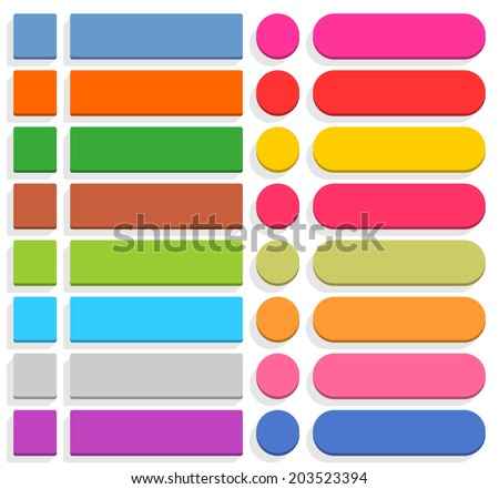 32 blank icon in flat style. 3D button square, rectangle, circle shapes with gray shadow on white background. Blue, red, yellow, green, pink, orange, brown, violet colors. Vector illustration in 8 eps