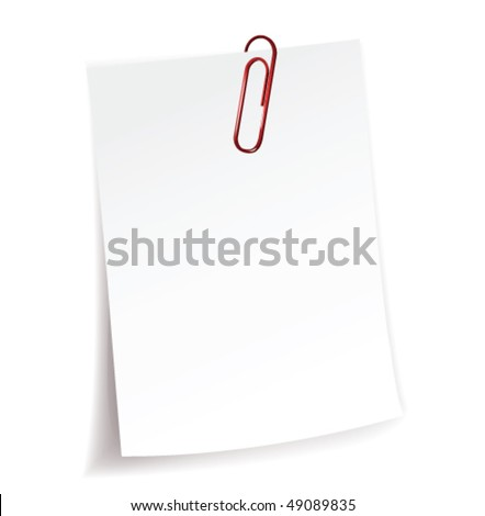Blank note paper and red paper-clip