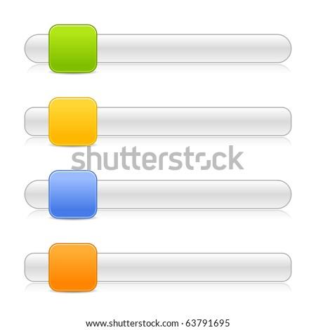 4 blank square shape navigation web 2.0 button slider on white background